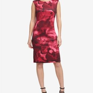 NWT DKNY Red Floral Scuba Dress